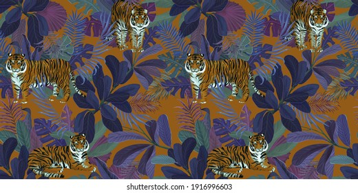 Seamless tropical pattern with tigers and blue leaves. Vintage background. Сolorful leaves of colocasia, filodendron, monstera. Exotic wallpaper. Hand drawing for design of fabric, paper, wallpaper, n