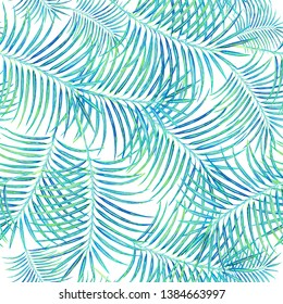 seamless tropical pattern of watercolor coconut tree branches