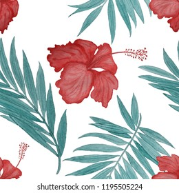 Seamless tropical pattern with watercolor hibiscus flowers and leaves.