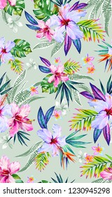 Seamless tropical pattern, watercolor hibiscus design.