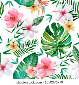 Seamless tropical pattern, watercolor illustration, tropical flowers and leaves.