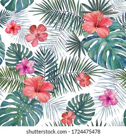 Seamless tropical watercolor pattern. Hibiscus flowers and palm leaves on a white background.