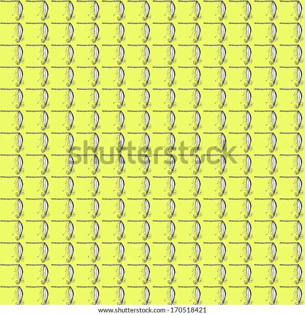 Seamless unique ornamental pattern with yellow background