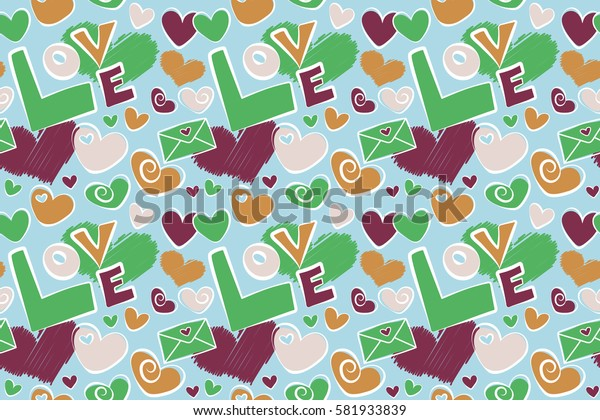 Seamless Valentines day pattern with raster hearts in orange and purple colors. Creative, luxury style for print cards, cloth, wrapper, cover, gift, banner, poster, greeting, invitation.