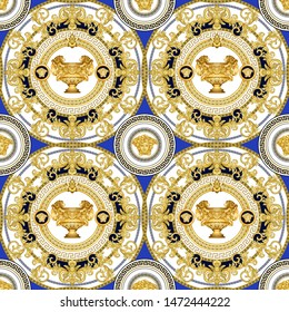 Seamless Vector Golden Baroque Fashionable seamless mandala in vintage style with medusa head, lioned cup. Pattern for textile, design and backgrounds.