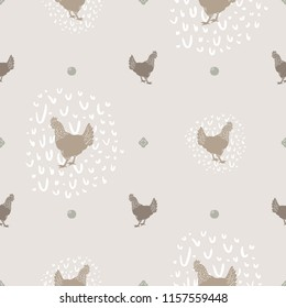Seamless Vector Modern Farmhouse Chicken and Egg Polka Dot Print in Shades of Brown. Great for fabric, scrapbooking, home decor, textiles, backgrounds.