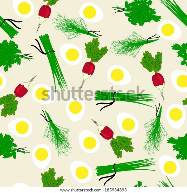Seamless vegetables garden radish illustration background pattern in