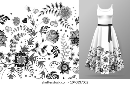 Seamless vertical fantasy flowers. Hand draw floral pattern on dress mockup. . lack and white. One color print.
