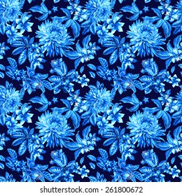 seamless Victorian floral pattern with garden and tropical flowers in blue tones.
