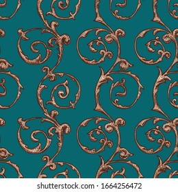 Seamless vintage baroque, renaissance and damask pattern.  illustration background in ink hand drawn style.
