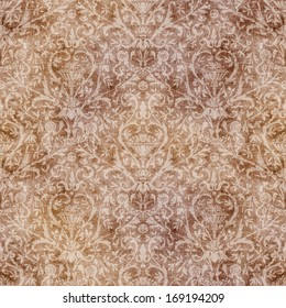 Seamless Vintage Brown Damask Tapestry