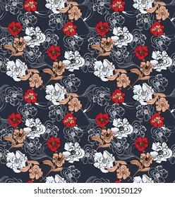 Seamless vintage floral pattern, elegant textile design