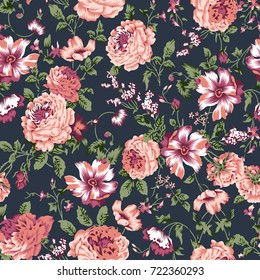 seamless vintage flower pattern on navy background