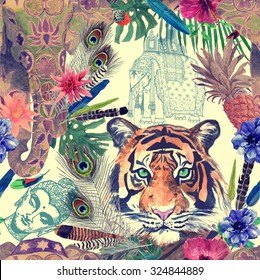 Seamless vintage indian style pattern with elephant, tiger head, exotic flowers, pineapple, feathers, sketches of elephant and Buddha head. Watercolor illustration.
