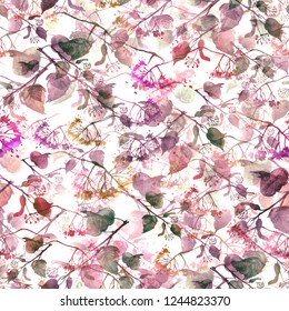 Seamless vintage pattern - branch of a linden, watercolor.splash of abstract paint, fashionable art background, shawl. Linden tree, linden flowers, leaves.