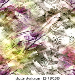 Seamless vintage pattern - branch of a linden, watercolor.splash of abstract paint,fashionable art background, shawl. Linden tree, linden flowers,  leaves. Abstract art illustration scenic background