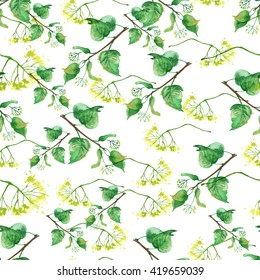 Seamless vintage pattern - branch of a linden, watercolor. Linden tree, linden flowers, green leaves watercolor.