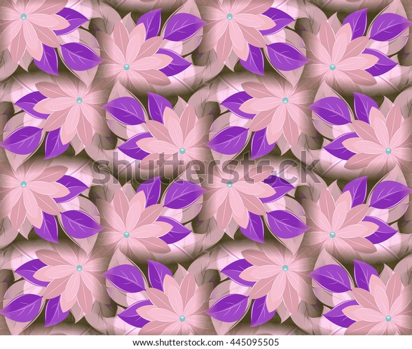 Seamless vintage pattern, decorative flowers, violet and cream. Vegetable wall-paper in ancient style. A background for design, fabrics, packing paper, etc.