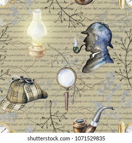 Seamless vintage pattern with hat, smoking pipe, lamp, magnifier, branches, pocket watch and silhouette of Sherlock Holmes on beige background with inscriptions. Watercolor hand drawn illustration