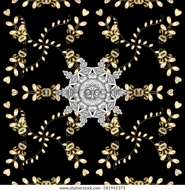 Seamless vintage pattern on black background with golden elements and with white doodles. Christmas, snowflake, new year.