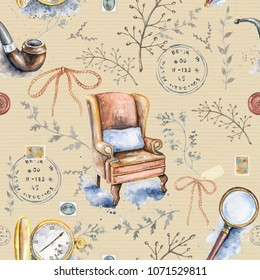 Seamless vintage pattern with smoking pipe, chair, bow, magnifier, pocket watch, branches and stamps on beige background. Watercolor hand drawn illustration
