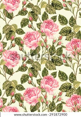 Seamless Vintage Roses Pattern Detailed Retro Stock Illustration