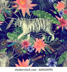 Seamless vintage style watercolor pattern with white tiger, monkey, exotic feathers, leaves, flowers, sketches of buddha head, indian elephant. Hand drawn illustration.