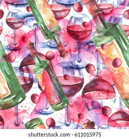Seamless vintage watercolor pattern.  Illustration red wine in the glass. Glass of wine. Figure executed in watercolor on an isolated white background.Splash, splashes.