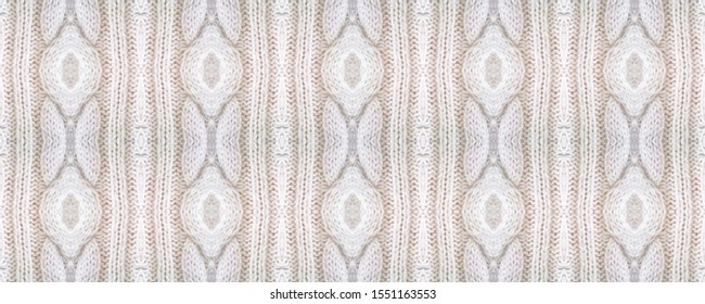 Seamless Volume Knitwear Style. Deer Style Macrame Fabric. Native Natural Background. White Winter Material. Volume European Knitted Pattern.