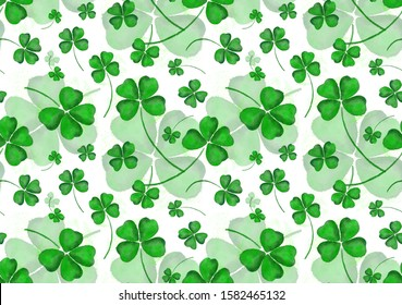 Seamless wallpaper clover leaves for Saint Patrick day Bright hand painted watercolour pattern, paper texture ornament for design of posters, cards, banners, invitations,cloths, prints wallpaper