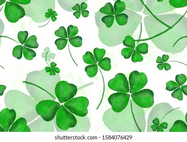 Seamless wallpaper clover leaves for Saint Patrick day Bright hand painted watercolour pattern, paper texture ornament for design of posters, cards, banners, invitations, cloths, prints wallpaper