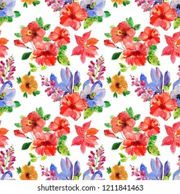 Seamless wall-paper with flowers and birds, watercolor illustration. Background for your design and decor.