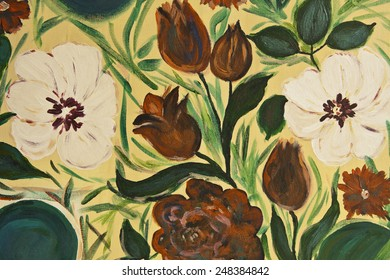 Seamless wallpaper with flowers Hand painted watercolor painting