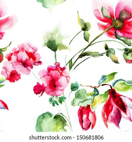Seamless wallpaper with Geranium and Peony flowers, watercolor illustration