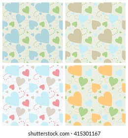 Seamless wall-paper hearts 1. A pattern multi-colored pastel hearts on a gray background.  A print for fabric, photowall-paper, a background basis for design.