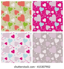 Seamless wall-paper hearts 3. A pattern multi-colored pastel and bright hearts on a color background.  A print for fabric, photowall-paper, a background basis for design.