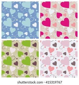 Seamless wall-paper hearts 5. A pattern multi-colored pastel and bright hearts on a color background.  A print for fabric, photowall-paper, a background basis for design.