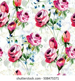 Seamless Wallpaper With Roses Flowers Watercolor Illustration