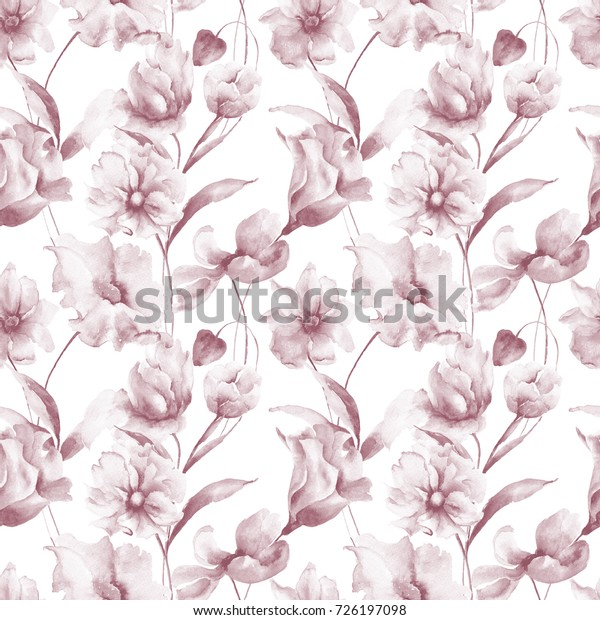 Seamless Wallpaper Spring Flowers Watercolor Painting Stock