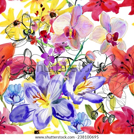 Seamless Wallpaper Summer Flowers Watercolor Painting Stock