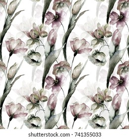 Seamless wallpaper with wild flowers, watercolor illustration
