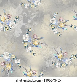 seamless water color flower with multi color ground digital print design