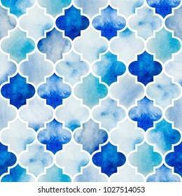 Seamless watercolor background. Beautiful hand drawn pattern in moroccan style.