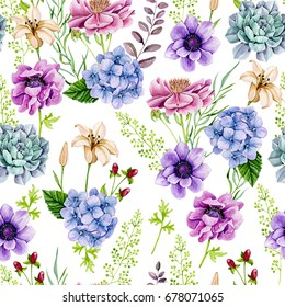 Seamless watercolor background, flowers, anemones, hydrangea, peony, succulent, lily