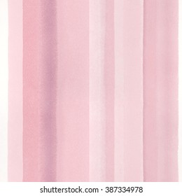 Seamless watercolor background with hand painted stripes in rose pink. Delicate, feminine pattern perfect for a wedding or a baby shower.