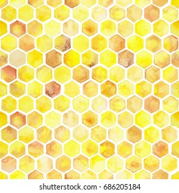 Seamless watercolor background of honeycombs