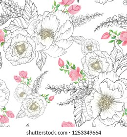 seamless watercolor background mix colorful floral flower and leaves with line art used for background texture, wrapping paper, textile or wallpaper design