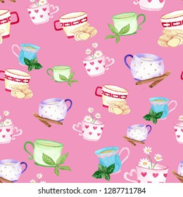 seamless watercolor background mix colorful green pepermint  ginger chamomile  cinnamon tea used for background texture, wrapping paper, textile or wallpaper design