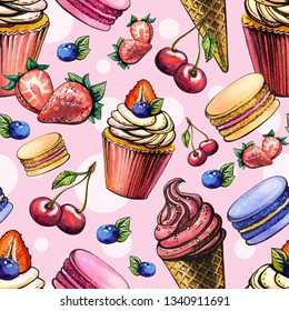 seamless watercolor background with sweets