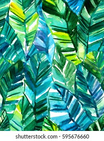 Seamless watercolor banana palm leaf pattern. Bright tropical background.